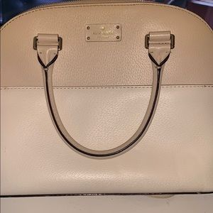 Kate Spade Domed Two-Toned tan and white purse